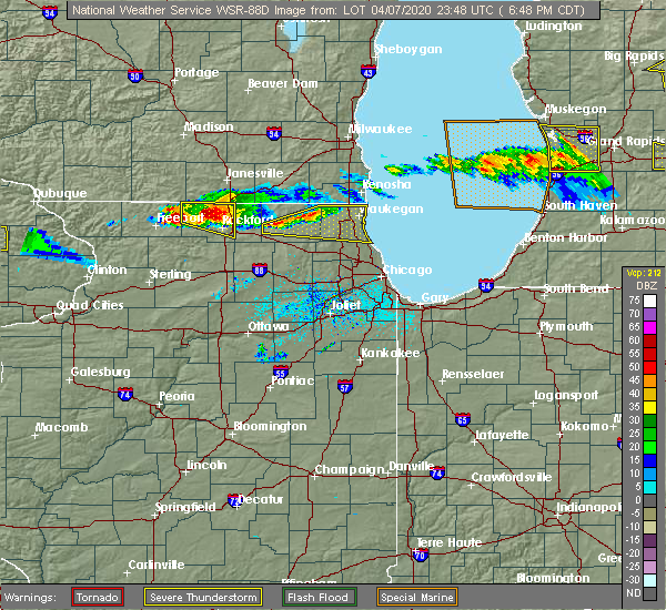 Radar Image for Severe Thunderstorms near Mundelein, IL at 4/7/2020 6:54 PM CDT