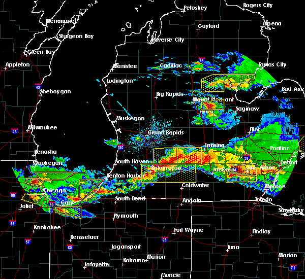 Radar Image for Severe Thunderstorms near Dowling, MI at 4/7/2020 9:26 PM EDT