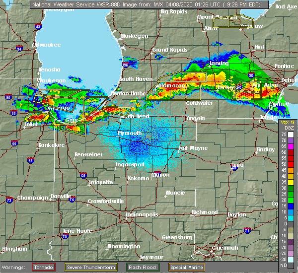 Radar Image for Severe Thunderstorms near New Troy, MI at 4/7/2020 9:32 PM EDT