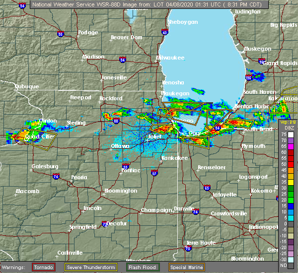 Radar Image for Severe Thunderstorms near Bridgeview, IL at 4/7/2020 8:35 PM CDT