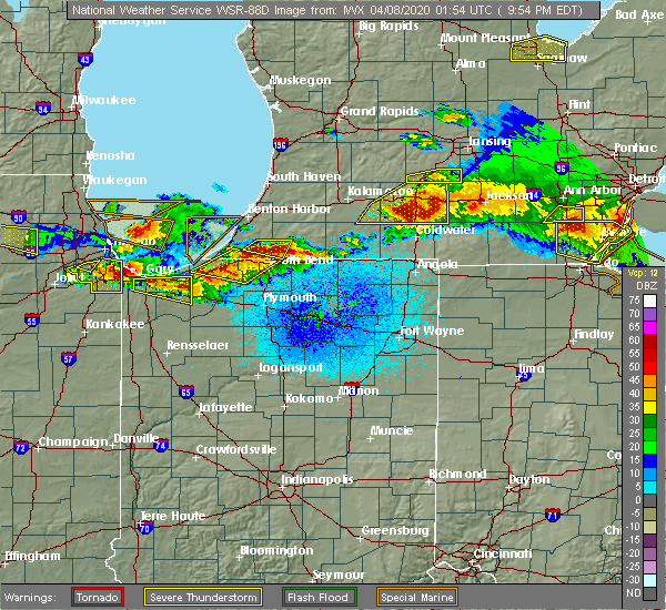 Radar Image for Severe Thunderstorms near Fish Lake, IN at 4/7/2020 9:59 PM EDT