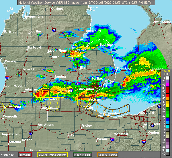 Radar Image for Severe Thunderstorms near Toledo, OH at 4/7/2020 9:59 PM EDT