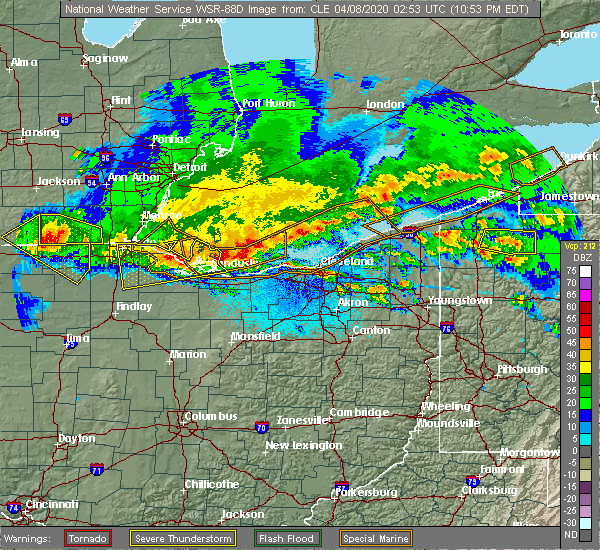 Radar Image for Severe Thunderstorms near Twinsburg, OH at 4/7/2020 11:00 PM EDT