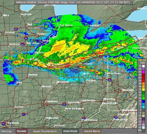 Radar Image for Severe Thunderstorms near Twinsburg, OH at 4/7/2020 11:21 PM EDT