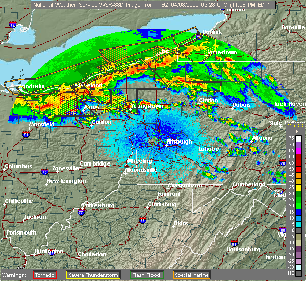 Radar Image for Severe Thunderstorms near Titusville, PA at 4/7/2020 11:34 PM EDT