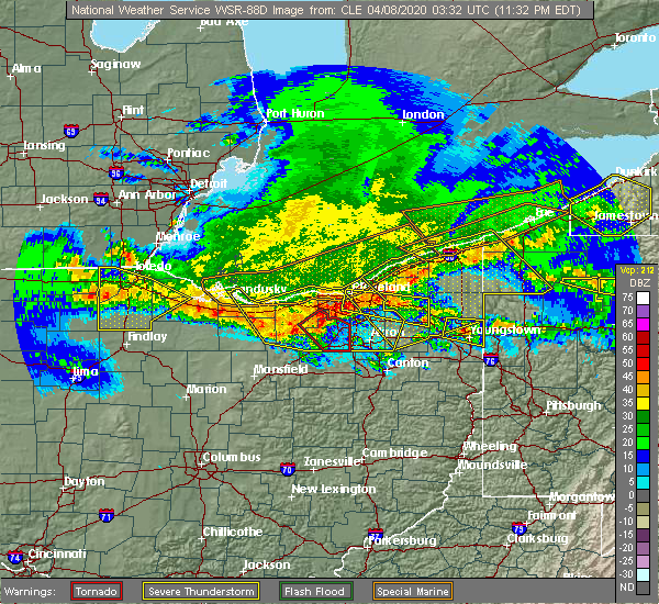 Radar Image for Severe Thunderstorms near Richfield, OH at 4/7/2020 11:37 PM EDT