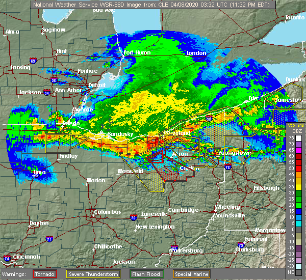 Radar Image for Severe Thunderstorms near Westfield Center, OH at 4/7/2020 11:48 PM EDT
