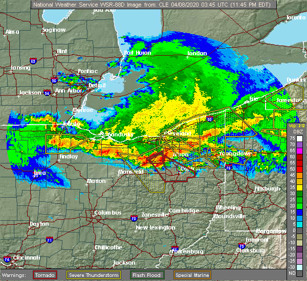 Radar Image for Severe Thunderstorms near South Canal, OH at 4/7/2020 11:55 PM EDT