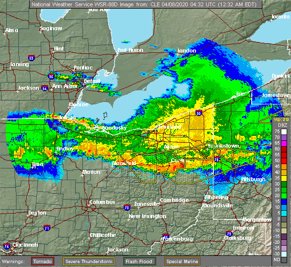 Radar Image for Severe Thunderstorms near Minerva, OH at 4/8/2020 12:37 AM EDT
