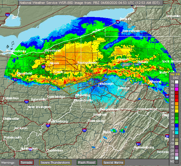 Radar Image for Severe Thunderstorms near Zoar, OH at 4/8/2020 1:00 AM EDT