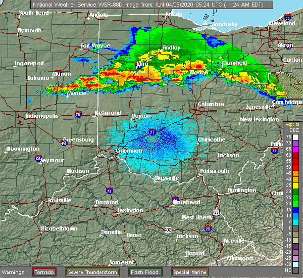 Radar Image for Severe Thunderstorms near Anna, OH at 4/8/2020 1:27 AM EDT