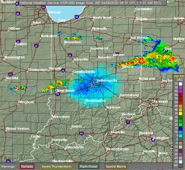 Radar Image for Severe Thunderstorms near Bloomingdale, IN at 4/8/2020 1:38 AM EDT