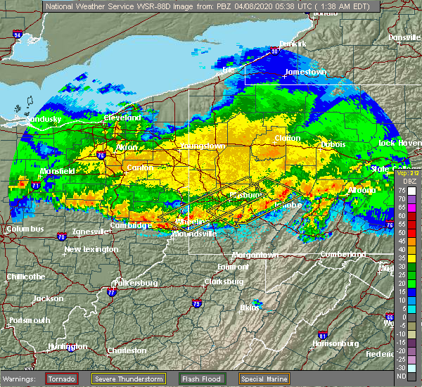 Radar Image for Severe Thunderstorms near Elrama, PA at 4/8/2020 1:43 AM EDT