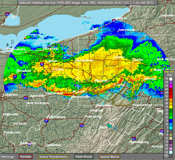 Radar Image for Severe Thunderstorms near Rockwood, PA at 4/8/2020 1:47 AM EDT