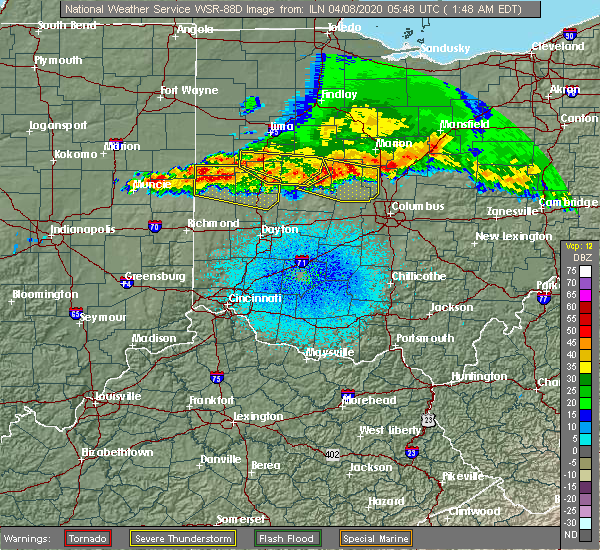 Radar Image for Severe Thunderstorms near Piqua, OH at 4/8/2020 1:50 AM EDT
