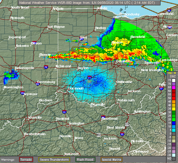 Radar Image for Severe Thunderstorms near Piqua, OH at 4/8/2020 2:24 AM EDT