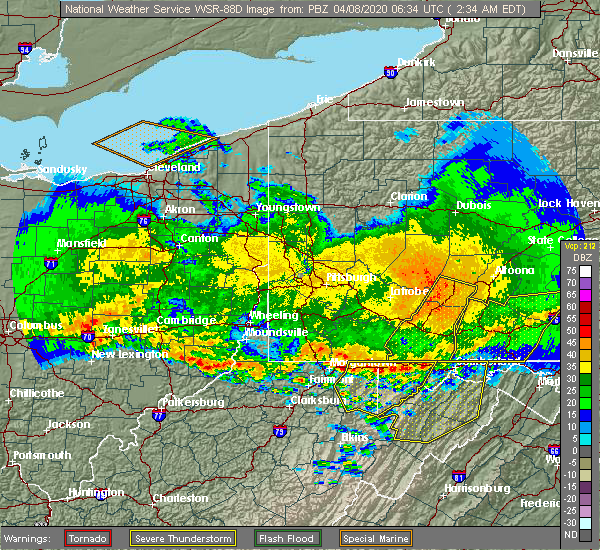 Radar Image for Severe Thunderstorms near Rockwood, PA at 4/8/2020 2:41 AM EDT