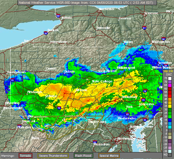 Radar Image for Severe Thunderstorms near Needmore, PA at 4/8/2020 2:57 AM EDT