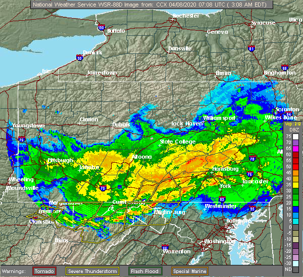 Radar Image for Severe Thunderstorms near Needmore, PA at 4/8/2020 3:13 AM EDT
