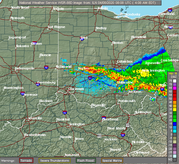 Radar Image for Severe Thunderstorms near Kettering, OH at 4/8/2020 4:15 AM EDT
