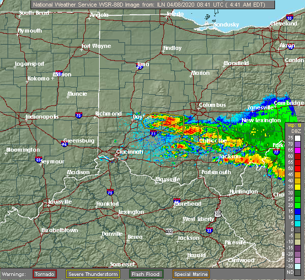 Radar Image for Severe Thunderstorms near Shawnee Hills, OH at 4/8/2020 4:45 AM EDT