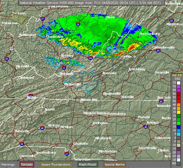 Radar Image for Severe Thunderstorms near Dooms, VA at 4/8/2020 5:57 AM EDT
