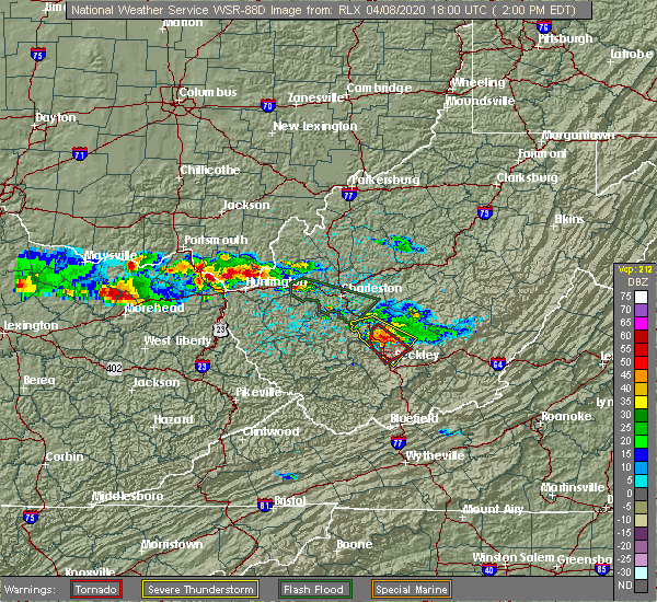 Radar Image for Severe Thunderstorms near Lavalette, WV at 4/8/2020 2:04 PM EDT