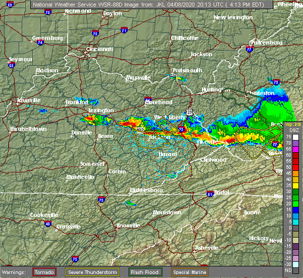 Radar Image for Severe Thunderstorms near Campton, KY at 4/8/2020 4:17 PM EDT
