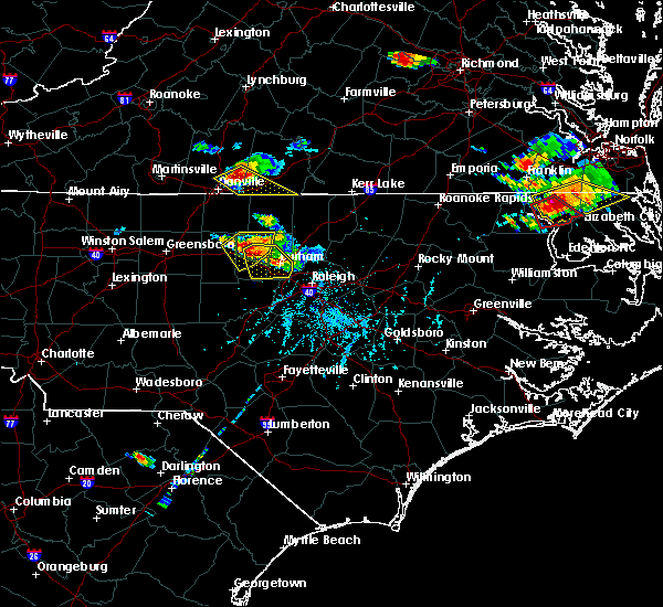 Radar Image for Severe Thunderstorms near Durham, NC at 6/25/2015 6:23 PM EDT