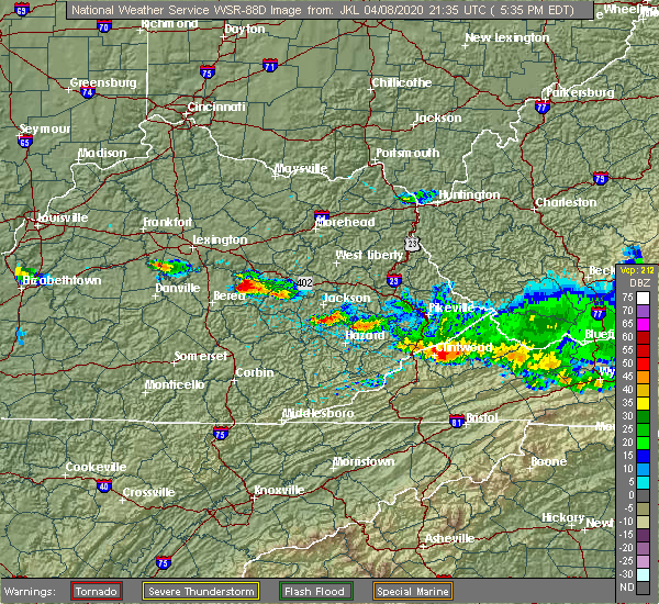Radar Image for Severe Thunderstorms near Beattyville, KY at 4/8/2020 5:38 PM EDT