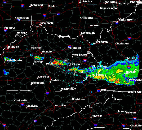 Radar Image for Severe Thunderstorms near Beattyville, KY at 4/8/2020 5:49 PM EDT