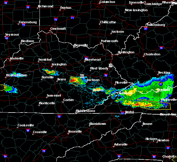 Radar Image for Severe Thunderstorms near Booneville, KY at 4/8/2020 6:15 PM EDT