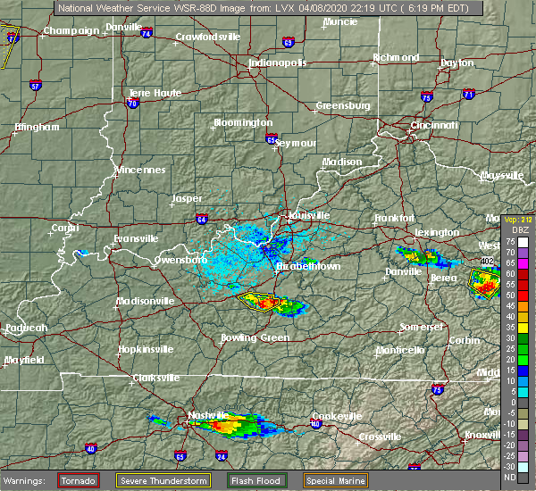 Radar Image for Severe Thunderstorms near Upton, KY at 4/8/2020 6:22 PM EDT