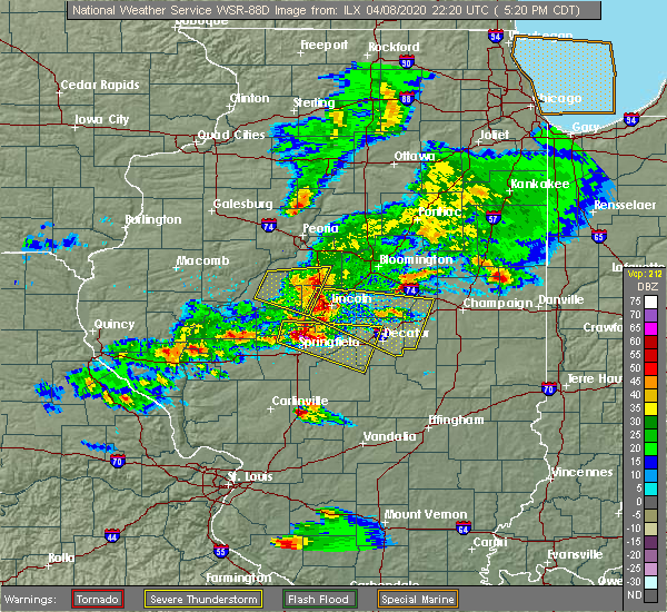Radar Image for Severe Thunderstorms near Green Valley, IL at 4/8/2020 5:26 PM CDT