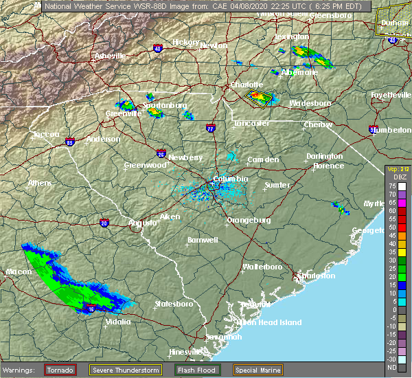 Radar Image for Severe Thunderstorms near Wingate, NC at 4/8/2020 6:28 PM EDT