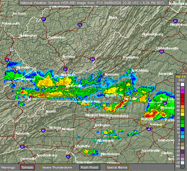 Radar Image for Severe Thunderstorms near Woodlawn, VA at 4/8/2020 6:29 PM EDT