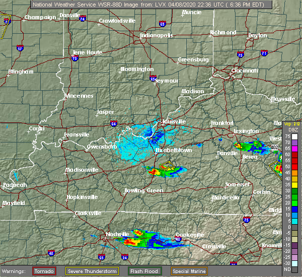 Radar Image for Severe Thunderstorms near Buffalo, KY at 4/8/2020 6:38 PM EDT
