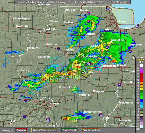 Radar Image for Severe Thunderstorms near Warrensburg, IL at 4/8/2020 5:40 PM CDT