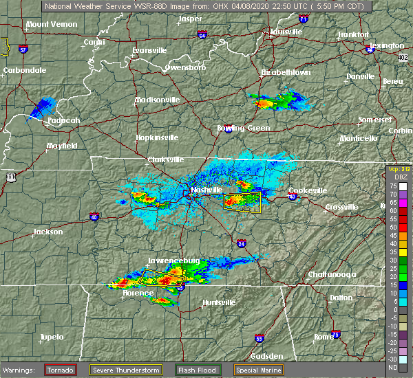 Radar Image for Severe Thunderstorms near Watertown, TN at 4/8/2020 5:53 PM CDT