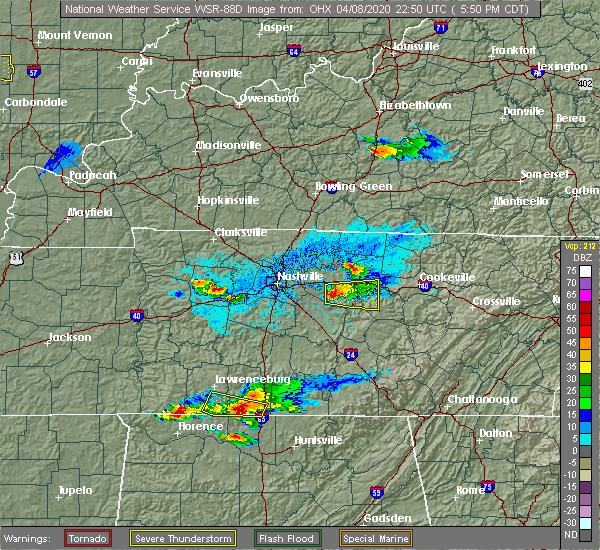 Radar Image for Severe Thunderstorms near Alexandria, TN at 4/8/2020 5:53 PM CDT