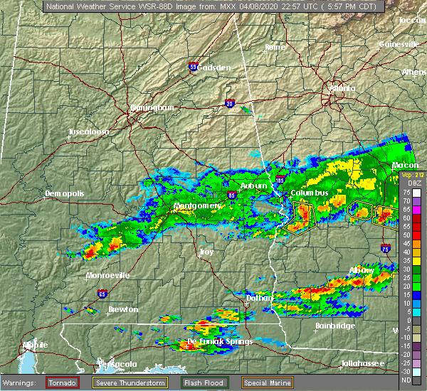 Radar Image for Severe Thunderstorms near Columbus, GA at 4/8/2020 7:00 PM EDT