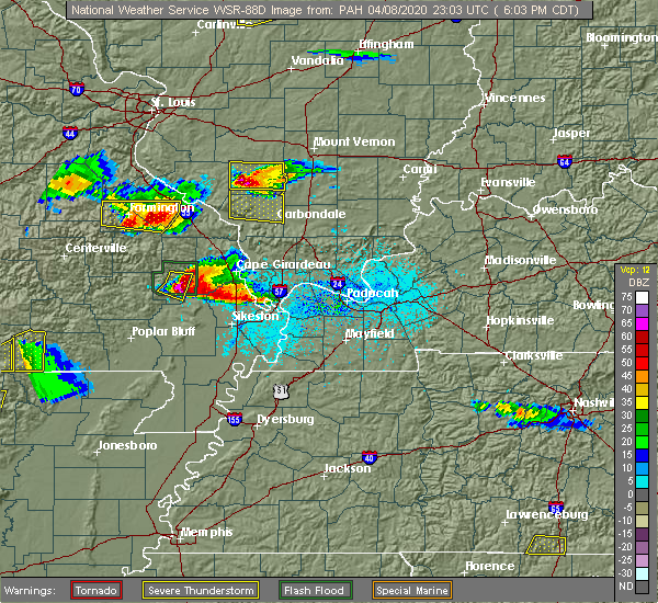 Radar Image for Severe Thunderstorms near Delta, MO at 4/8/2020 6:07 PM CDT