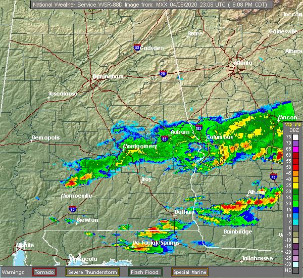 Radar Image for Severe Thunderstorms near Columbus, GA at 4/8/2020 7:13 PM EDT