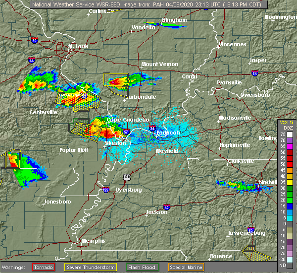 Radar Image for Severe Thunderstorms near Blodgett, MO at 4/8/2020 6:19 PM CDT