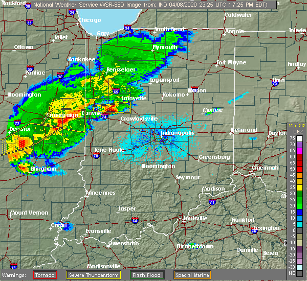 Radar Image for Severe Thunderstorms near Colfax, IN at 4/8/2020 7:30 PM EDT