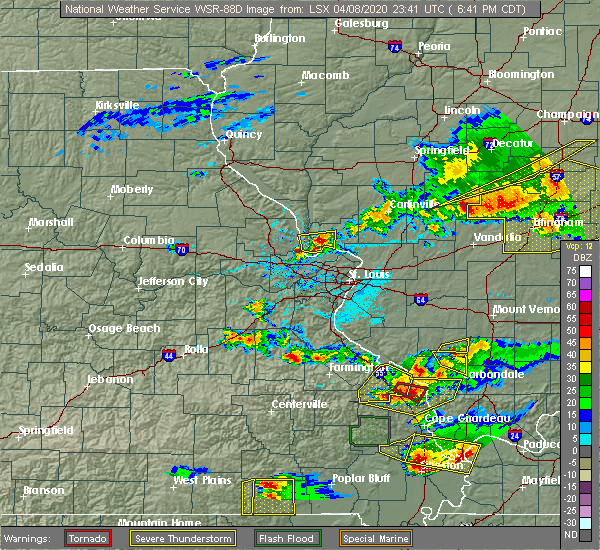 Radar Image for Severe Thunderstorms near Grafton, IL at 4/8/2020 6:43 PM CDT