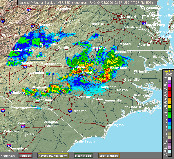 Radar Image for Severe Thunderstorms near Pinehurst, NC at 4/8/2020 7:45 PM EDT