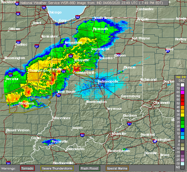 Radar Image for Severe Thunderstorms near Oakwood, IL at 4/8/2020 6:54 PM CDT