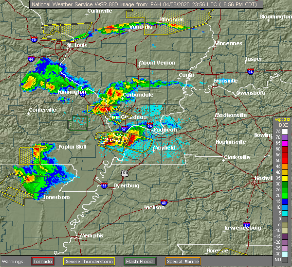 Radar Image for Severe Thunderstorms near Pocahontas, MO at 4/8/2020 7:01 PM CDT
