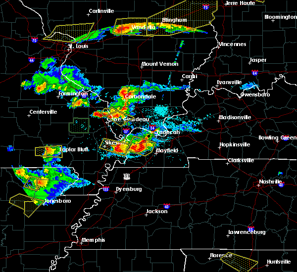 Radar Image for Severe Thunderstorms near Anniston, MO at 4/8/2020 7:16 PM CDT